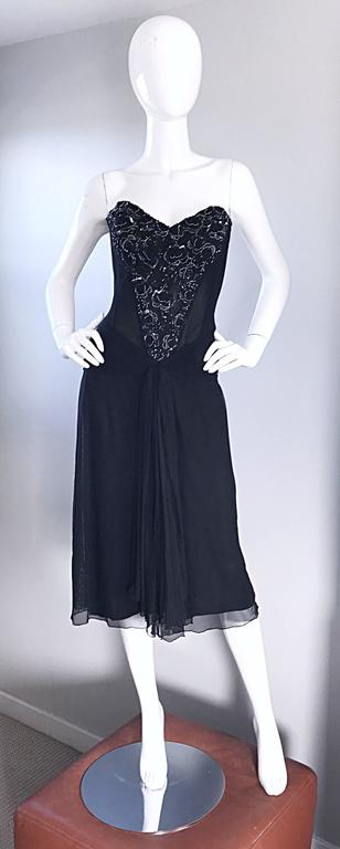 Vintage Vicky Tiel Couture Black Sequined and Beaded Strapless Flapper Dress  2