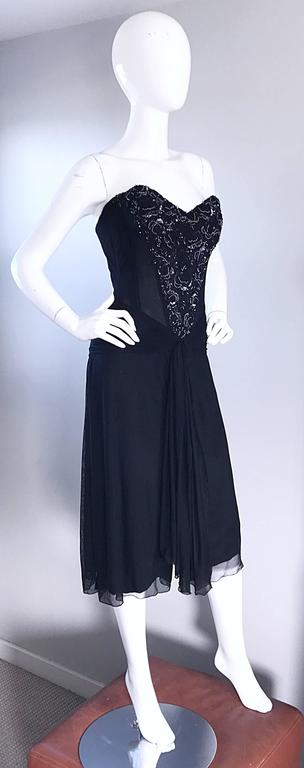 Vintage Vicky Tiel Couture Black Sequined and Beaded Strapless Flapper Dress  5