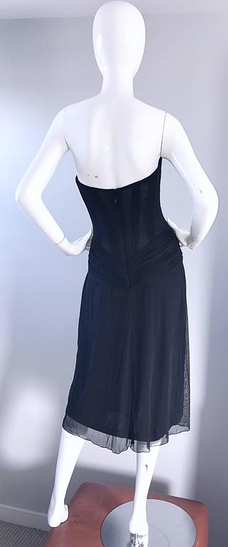 Vintage Vicky Tiel Couture Black Sequined and Beaded Strapless Flapper Dress  6