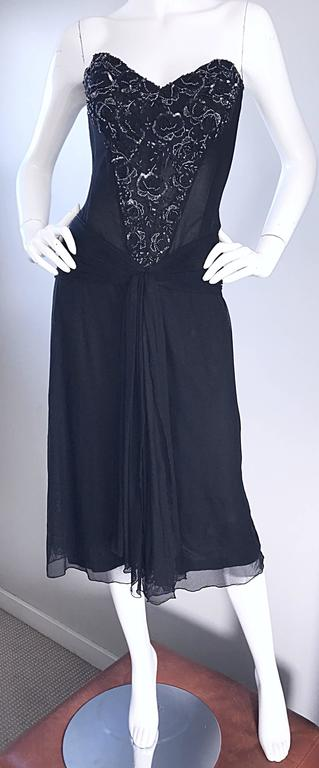 Vintage Vicky Tiel Couture Black Sequined and Beaded Strapless Flapper Dress  7