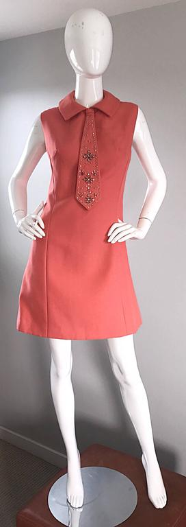 Chic 1960s Coral Salmon Pink Beaded Necktie Vintage A - Line 60s Shift Dress 2