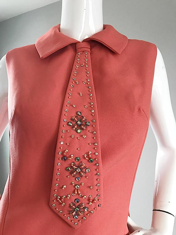 Chic 1960s Coral Salmon Pink Beaded Necktie Vintage A - Line 60s Shift Dress 3