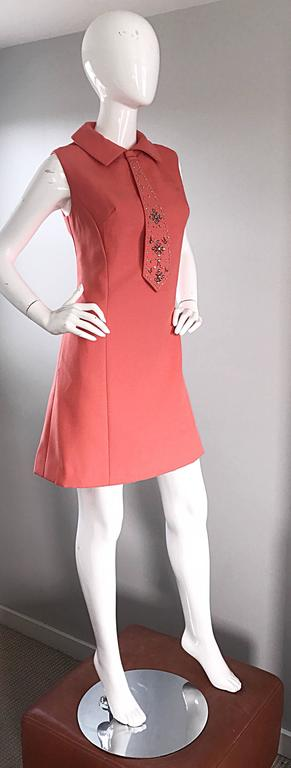 Chic 1960s Coral Salmon Pink Beaded Necktie Vintage A - Line 60s Shift Dress 4