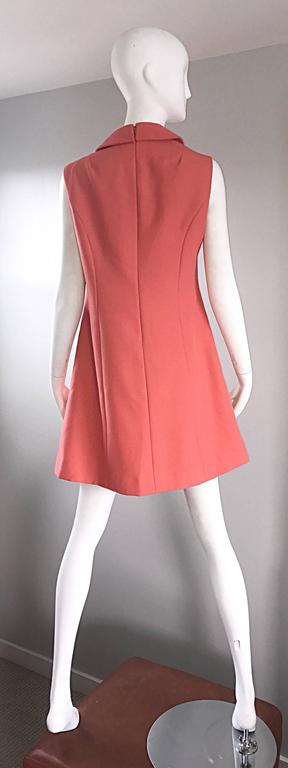 Chic 1960s Coral Salmon Pink Beaded Necktie Vintage A - Line 60s Shift Dress 5