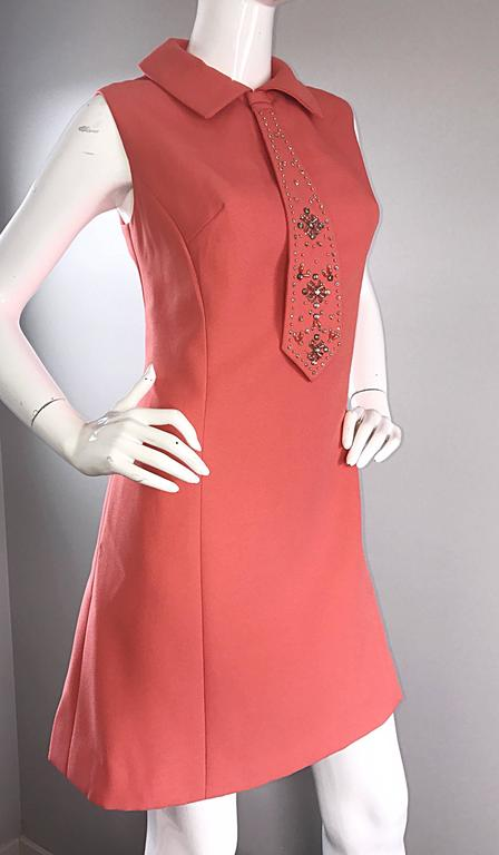 Chic 1960s Coral Salmon Pink Beaded Necktie Vintage A - Line 60s Shift Dress 6