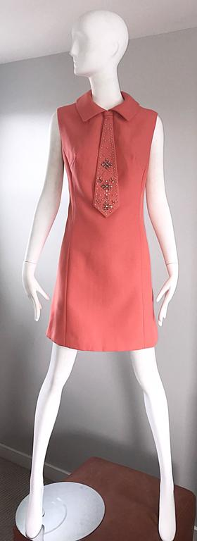 Chic 1960s Coral Salmon Pink Beaded Necktie Vintage A - Line 60s Shift Dress 7