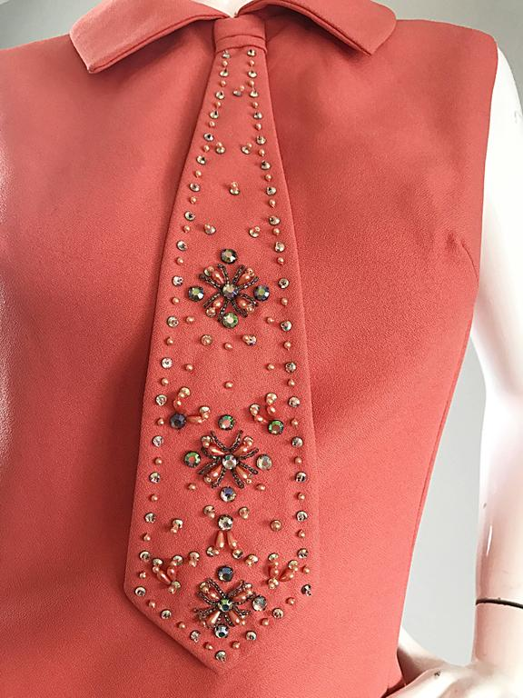 Chic 1960s Coral Salmon Pink Beaded Necktie Vintage A - Line 60s Shift Dress 8