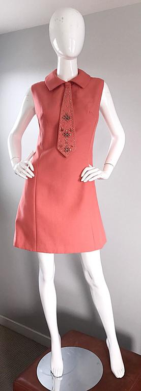 Chic 1960s Coral Salmon Pink Beaded Necktie Vintage A - Line 60s Shift Dress 9