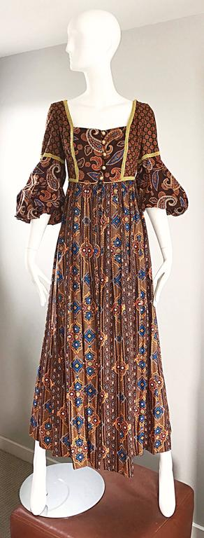 Fantastic 1970s JAY MORLEY for FERN VIOLETTE boho peasant maxi dress! Jay Morley pieces are rare to come by, and very sought after! Morley was a renowned Hollywood costume designer in the 1950s and 1960s. He had his own line under Fern Violette in