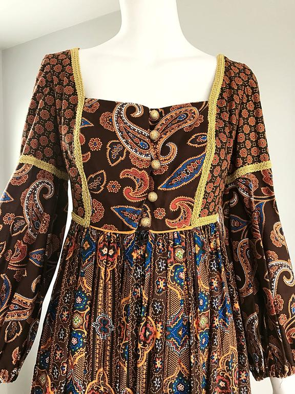 Jay Morley for Fern Violette 70s Boho Paisley Vintage Cotton Peasant Maxi Dress In Excellent Condition For Sale In Chicago, IL