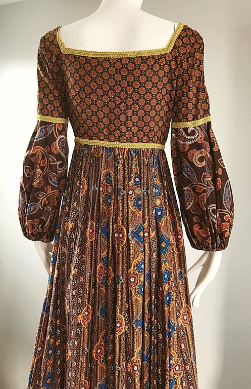 Women's Jay Morley for Fern Violette 70s Boho Paisley Vintage Cotton Peasant Maxi Dress For Sale