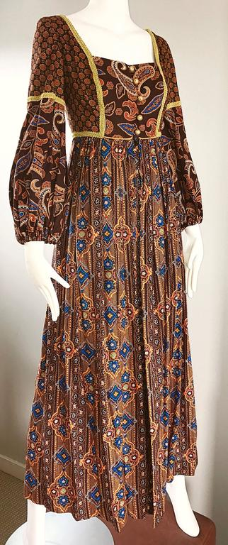 Jay Morley for Fern Violette 70s Boho Paisley Vintage Cotton Peasant Maxi Dress For Sale 1
