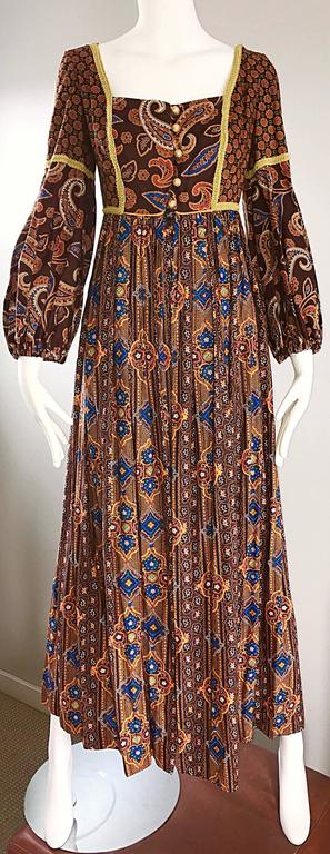 Jay Morley for Fern Violette 70s Boho Paisley Vintage Cotton Peasant Maxi Dress For Sale 3