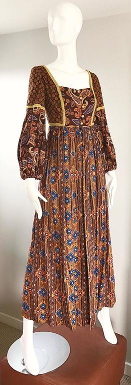 Jay Morley for Fern Violette 70s Boho Paisley Vintage Cotton Peasant Maxi Dress For Sale 2