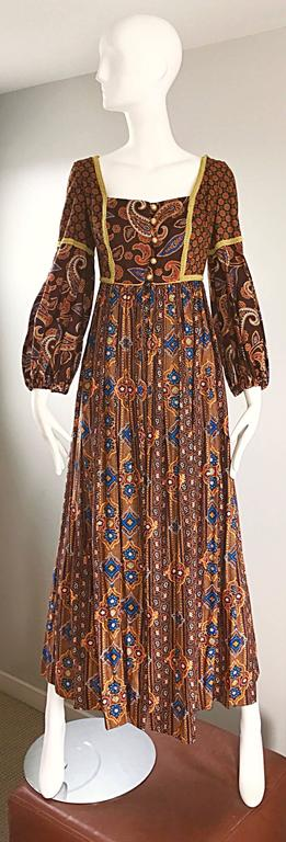 Jay Morley for Fern Violette 70s Boho Paisley Vintage Cotton Peasant Maxi Dress For Sale 4