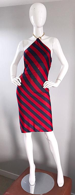 1990s Ralph Lauren Vintage Navy Blue And Red Striped