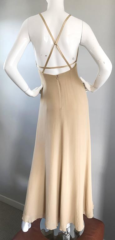 Beige 1990s Giorgio Armani Collezioni Nude Silk Chiffon Cut - Out Gown Evening Dress For Sale