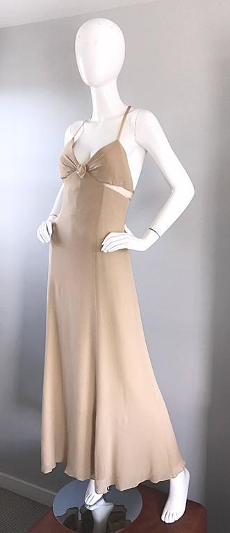 Women's 1990s Giorgio Armani Collezioni Nude Silk Chiffon Cut - Out Gown Evening Dress For Sale