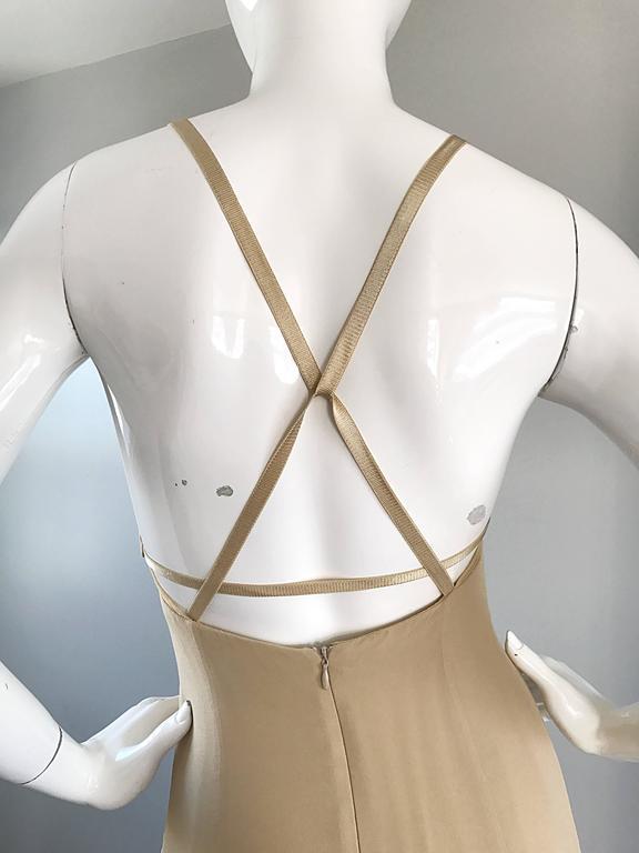 1990s Giorgio Armani Collezioni Nude Silk Chiffon Cut - Out Gown Evening Dress For Sale 1