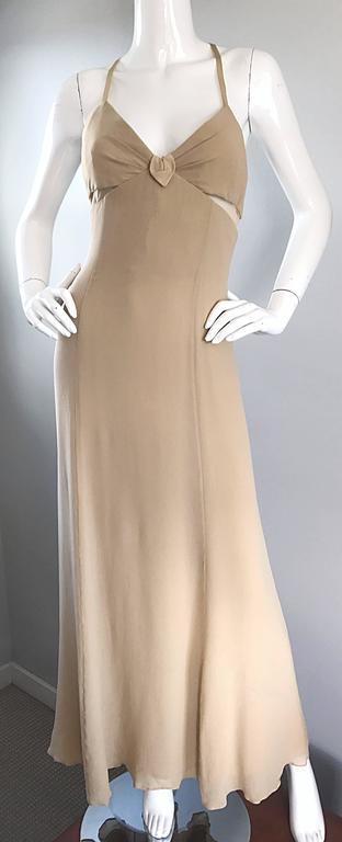 1990s Giorgio Armani Collezioni Nude Silk Chiffon Cut - Out Gown Evening Dress For Sale 2