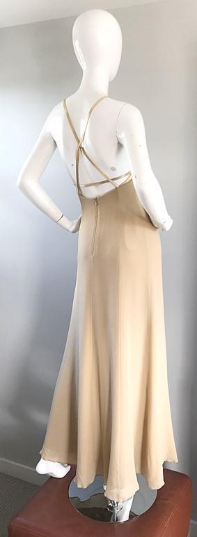 1990s Giorgio Armani Collezioni Nude Silk Chiffon Cut - Out Gown Evening Dress For Sale 3