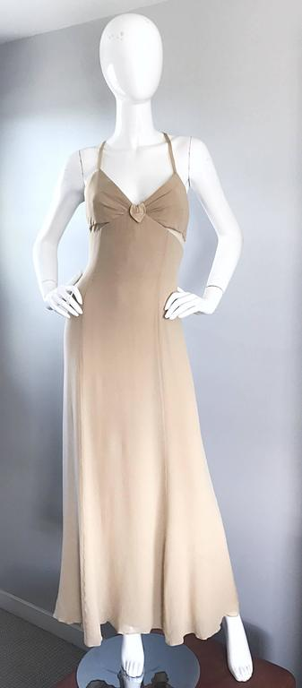 1990s Giorgio Armani Collezioni Nude Silk Chiffon Cut - Out Gown Evening Dress For Sale 4