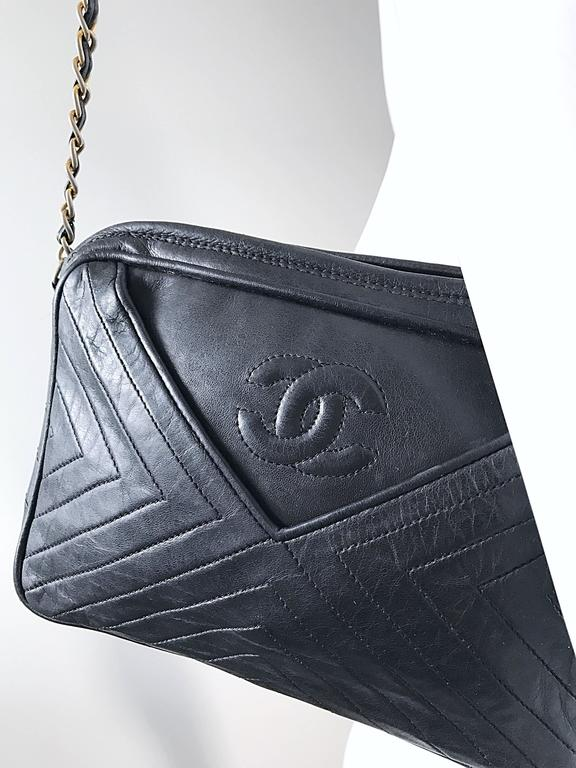 Vintage Chanel Black Leather Chevron Quilted Stripe