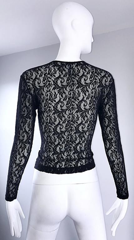 Women's 1990s Calvin Klein Black Lace Vintage Bodycon Sexy 90s Crop Top Blouse For Sale