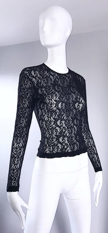 1990s Calvin Klein Black Lace Vintage Bodycon Sexy 90s Crop Top Blouse For Sale 1