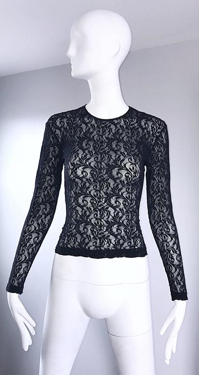 1990s Calvin Klein Black Lace Vintage Bodycon Sexy 90s Crop Top Blouse For Sale 5