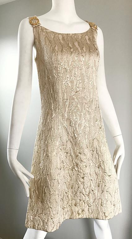 Women's 1960s Chic Gold Silk Brocade Metallic Vintage 60s A - Line Fit n' Flare Dress  For Sale