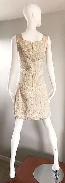 1960s Chic Gold Silk Brocade Metallic Vintage 60s A - Line Fit n' Flare Dress  For Sale 1