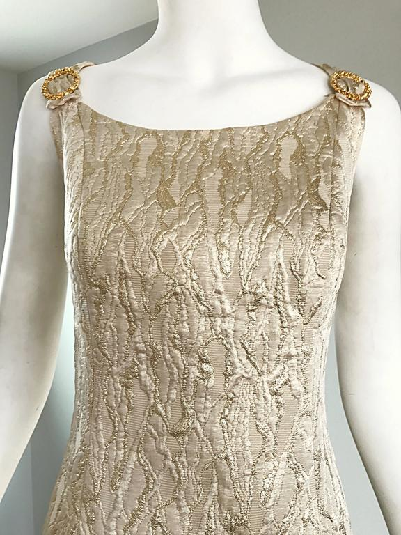 1960s Chic Gold Silk Brocade Metallic Vintage 60s A - Line Fit n' Flare Dress  For Sale 2