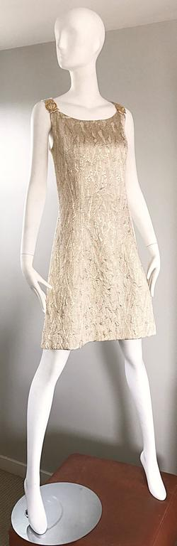 1960s Chic Gold Silk Brocade Metallic Vintage 60s A - Line Fit n' Flare Dress  For Sale 3