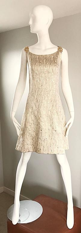 1960s Chic Gold Silk Brocade Metallic Vintage 60s A - Line Fit n' Flare Dress  For Sale 6