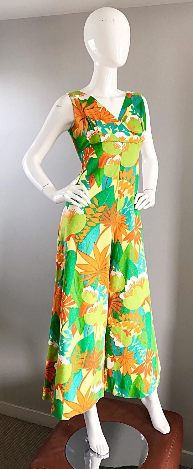 2125728f25f Amazing Vintage 1970s Tropical Hawaiian Print Neon Cotton 70s Jumpsuit For  Sale at 1stdibs