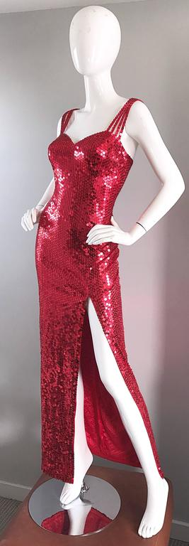 Women's Della Roufogali Vintage Sexy 1990s Red Sequin Dress Jessica Rabbit Evening Gown For Sale