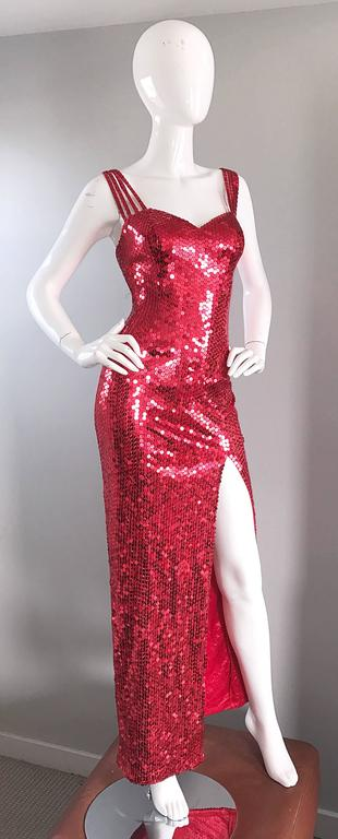 Della Roufogali Vintage Sexy 1990s Red Sequin Dress Jessica Rabbit Evening Gown For Sale 1