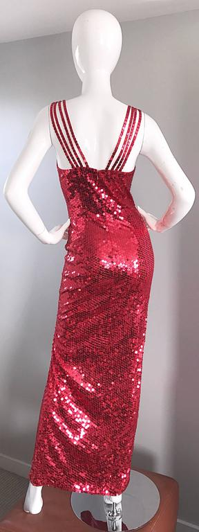 Della Roufogali Vintage Sexy 1990s Red Sequin Dress Jessica Rabbit Evening Gown For Sale 2