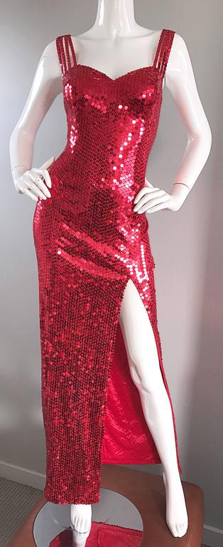 Della Roufogali Vintage Sexy 1990s Red Sequin Dress Jessica Rabbit Evening Gown For Sale 3
