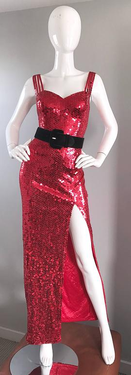 Della Roufogali Vintage Sexy 1990s Red Sequin Dress Jessica Rabbit Evening Gown For Sale 4