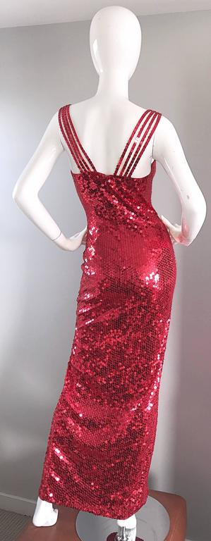 Della Roufogali Vintage Sexy 1990s Red Sequin Dress Jessica Rabbit Evening Gown For Sale 5