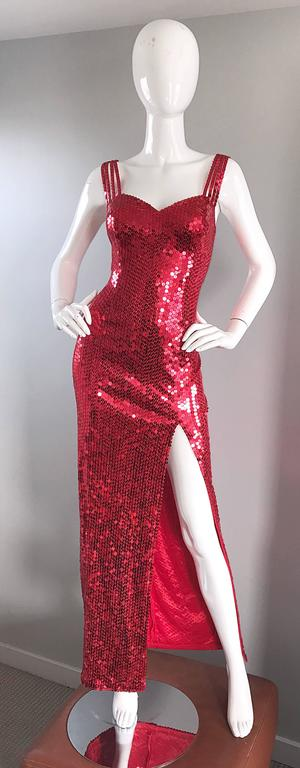 Della Roufogali Vintage Sexy 1990s Red Sequin Dress Jessica Rabbit Evening Gown For Sale 6