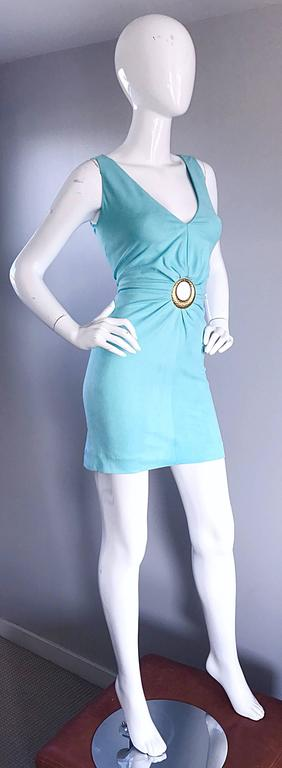 Women's 1990s Ikito French Made Robins Egg Blue Acqua Sexy Cut - Out Vintage Mini Dress For Sale