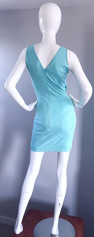 1990s Ikito French Made Robins Egg Blue Acqua Sexy Cut - Out Vintage Mini Dress For Sale 1