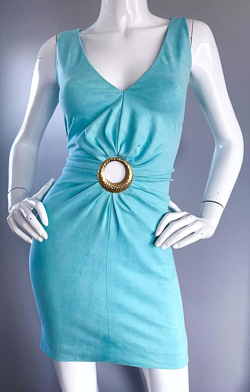 1990s Ikito French Made Robins Egg Blue Acqua Sexy Cut - Out Vintage Mini Dress For Sale 2