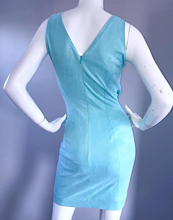 1990s Ikito French Made Robins Egg Blue Acqua Sexy Cut - Out Vintage Mini Dress For Sale 3