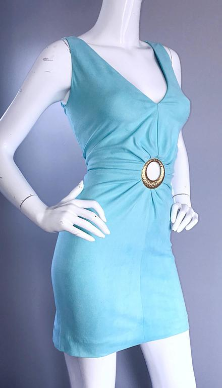 1990s Ikito French Made Robins Egg Blue Acqua Sexy Cut - Out Vintage Mini Dress 8