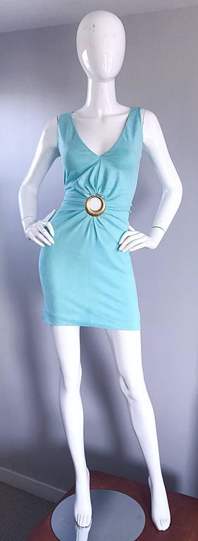 1990s Ikito French Made Robins Egg Blue Acqua Sexy Cut - Out Vintage Mini Dress For Sale 5