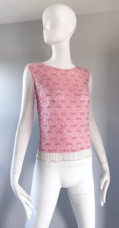 Chic 1950s Pink Beaded Sequin Harilela S Hong Kong
